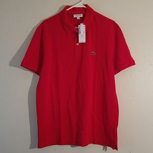 Brand new red Lacoste polo shirt, tags still on.